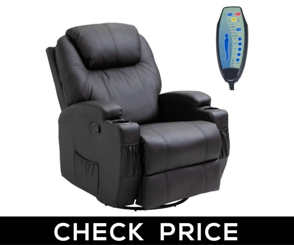 HomCom PU Leather Heated Vibrating Massage Recliner Chair